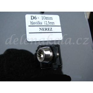 šroub D6x10mm hlava 12,5mm - nerez titan