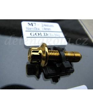 šroub M7x24mm hlava 14mm - zlaté zlato gold