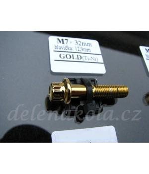šroub M7x32mm hlava 12,9mm - gold zlato